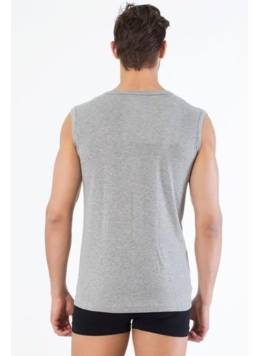 Siyah İnci 2'li Pamuklu Yuvarlak Yaka Kolsuz T-Shirt Gri